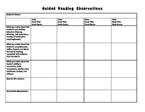 guided reading observation template 17 best images about education on activities