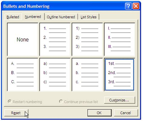 Word 2010 Restart Outline Numbering by Bullets And Numbering Dialog Box Word 2010 Word 2008 Using Multilevel List Numbering