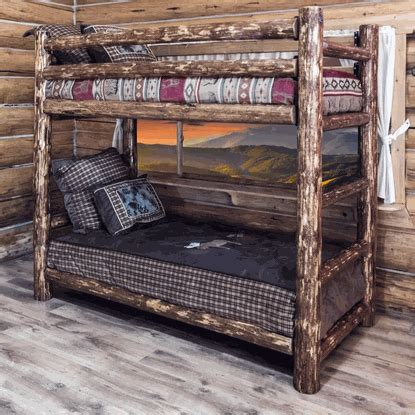 Pine Log Bunk Beds Amish Quot Glacier Quot Pine Log Bunk Bed