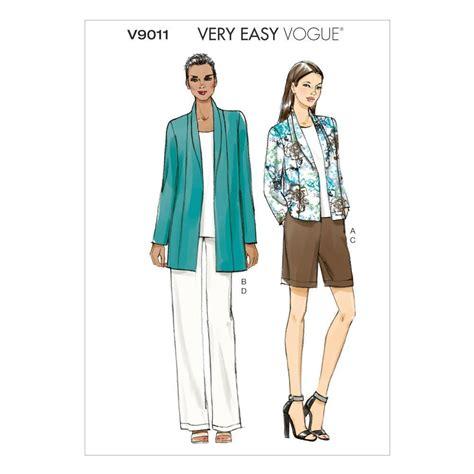 jeans pattern vogue vogue v9011 misses jacket shorts pants