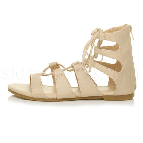 ankle gladiator sandals womens flat lace up strappy ankle tie gladiator