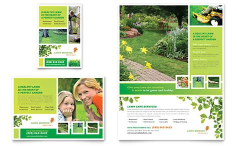 free design templates for advertising lawn mowing service flyer ad template design