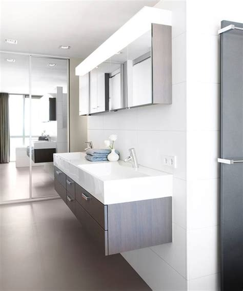 Modern Bathroom Cabinet Ideas Modern Bathroom With Floating Sink Design In White And Gray Decoist