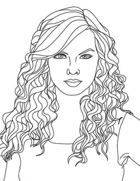 Pretty Hair Coloring Pages | taylor swift taylor swift curly hair coloring page