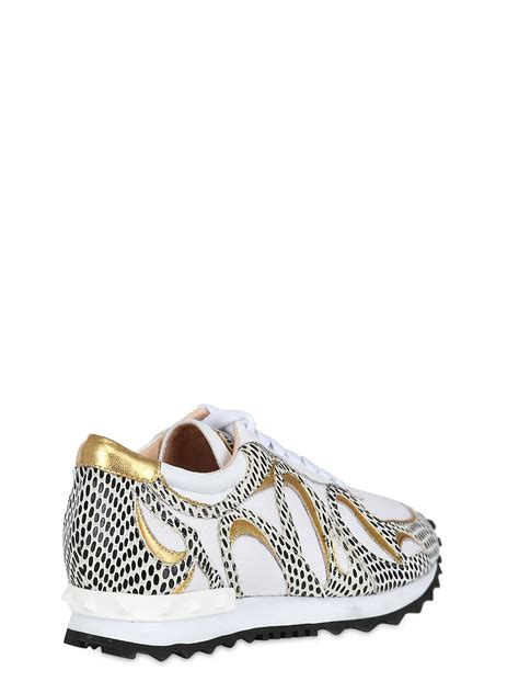 lola sneakers lola 40mm elaphe print leather sneakers in white for