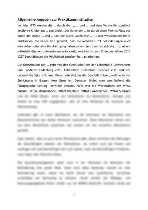 bericht schreiben fos praktikumsbericht soziale arbeit in einer behindertenwerkstatt tagesablauf reflexion und