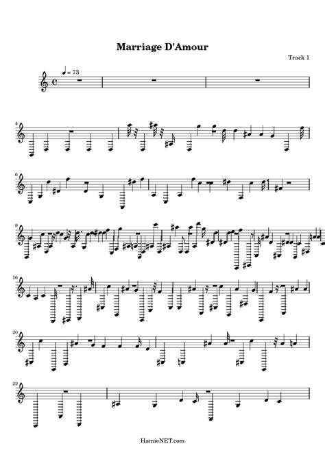 Marriage d'amour guitar classic tab