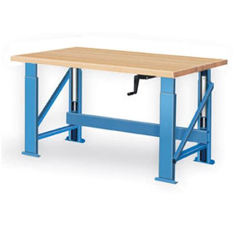 hydraulic work bench manual hydraulic bench w wood top 72 quot w x 36 quot d blue