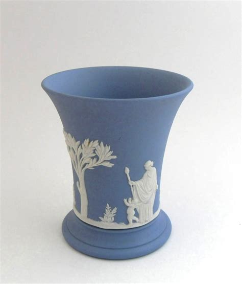 Wedgwood Vases Antique by Vintage Wedgwood Blue Jasperware Trumpet Vase With
