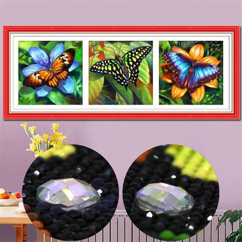 Lukisan Bordir khusus berbentuk berlian lukisan kupu kupu 3d gambar