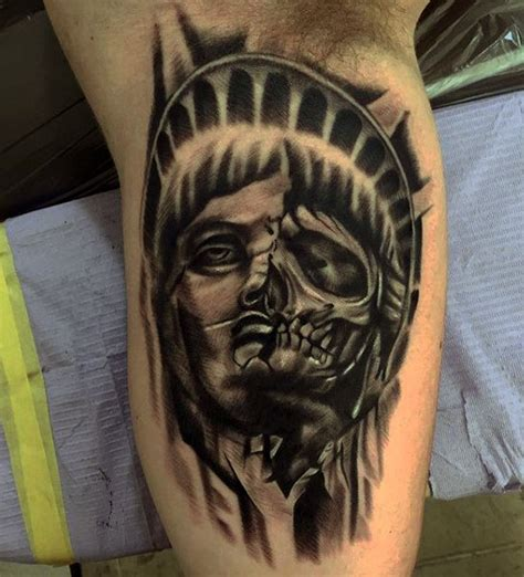70 Statue Of Liberty Tattoo Designs For Men New York City Statue Of Liberty Tattoos Pics
