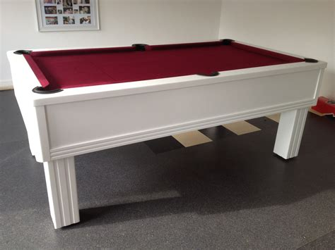 emperor in white with burgundy cloth modern uk pool tables