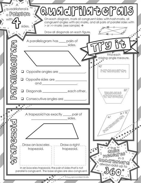 "FREE 2 page download - Quadrilaterals ""doodle notes"" (for"