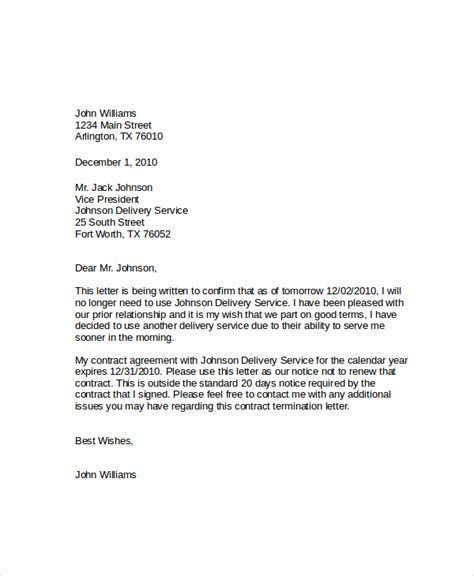 termination letter of broadband service service cancellation letter sle best