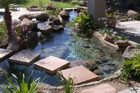 Landscaped Front Yard - waterfall water features pond builder phoenix landscaping design amp pool builders remodeling