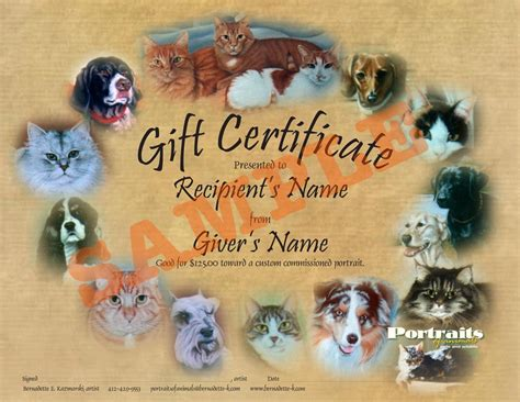 Animal Small Gift Cards Template by Gift Certificates For Commissioned Portraits And