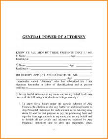 Sle Letter Of Power Of Attorney by 6 Sle General Power Of Attorney Form Plan Template
