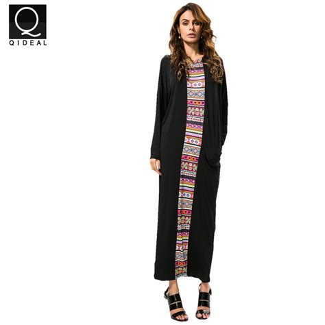 Ghislaine Ethnic Kaftan Maxi Dress qideal l 2017 summer dress kaftan ethnic rayon maxi dress vintage tunic boho casual