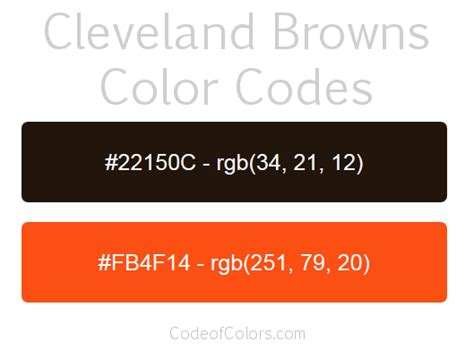 browns colors cleveland browns colors hex and rgb color codes