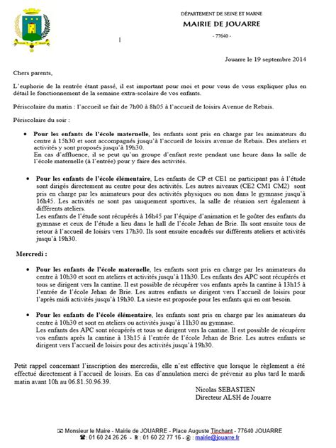 Exemple De Lettre Aux Parents Apej Association Des Parents D El 232 Ves De Jouarre 187 Lettre D Information Aux Parents Du Alsh