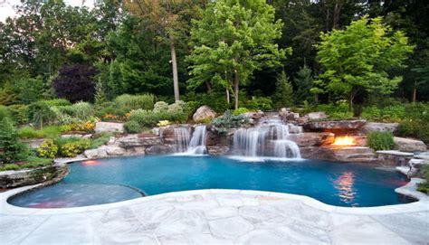 Backyard Pools In Backyard Swimming Pool Waterfall Design Bergen County Nj