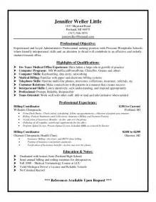 Billing Specialist Resume by Exle Resume Biller Resume Sle