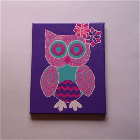 painting for tweens pink owl acrylic canvas painting for baby from starrjoy16