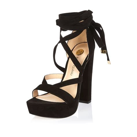 black lace up sandal heels river island black lace up platform heels in black lyst