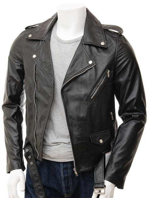mens leather biker jacket mens black biker leather jacket shores men caine