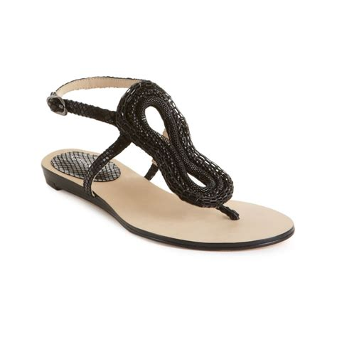 dress sandals calvin klein steffie flat dress sandals in black lyst