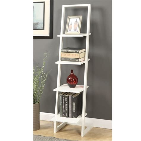 4 shelf bookcase white 4 shelf ladder bookcase in white 131499w