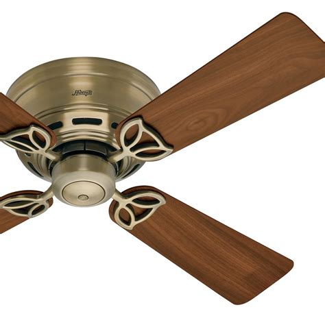 reclaimed wood ceiling fan 42 quot hunter low profile ceiling fan in antique brass 4