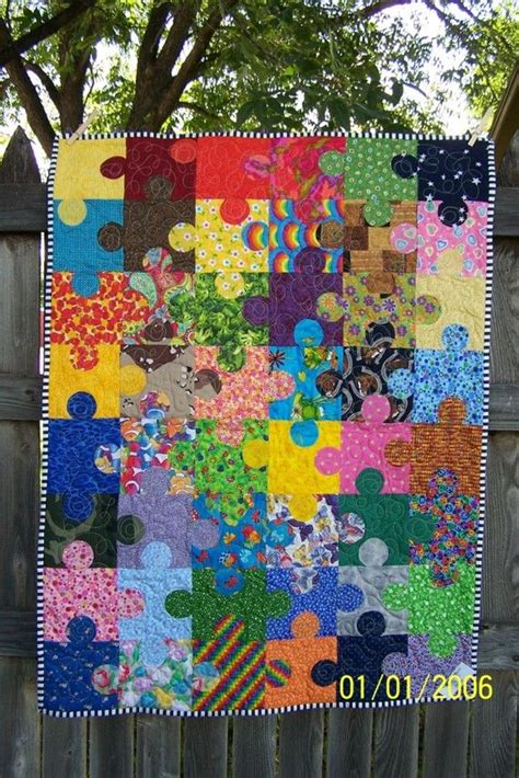 pieces by polly jigsaw puzzle baby quilt free pattern puzzle pieces autism awareness quilt made to order
