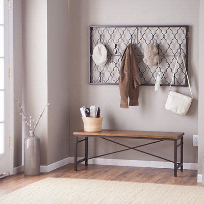 entryway coat rack wood metal entryway hallway wall mount coat rack bench set