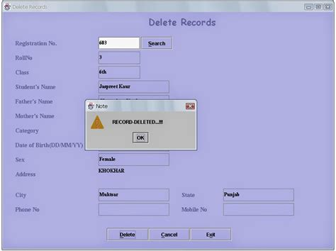 delete records from the access sql table using swing