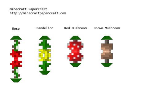minecraft printable flowers papercraft flowers and mushrooms