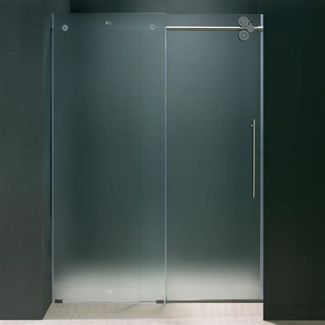 Bypass Shower Doors Frameless Vigo Elan 60 In X 74 In Frameless Bypass Shower Door In Chrome With Frosted Glass