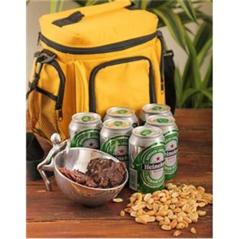 cooler bag hamper filled with biltong, beer & nuts | south