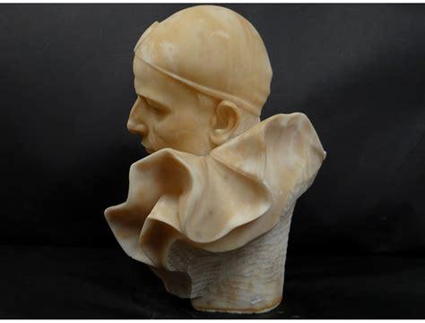 Rare alabaster sculpture bust character Pierrot Trafeli