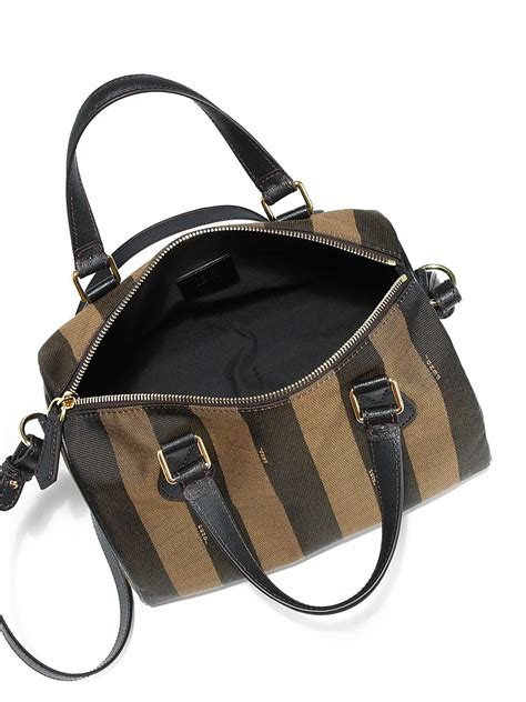 Kaos Fendi Made In Italy fendi forest and tobacco pequin striped canvas boston convertible tote in brown lyst