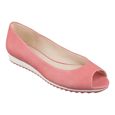 peep toe flat shoes nine west xamine peep toe flats in pink coral leather lyst