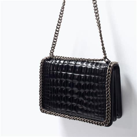 Zara Bag Black zara city chain trimmed shoulder bag in black lyst