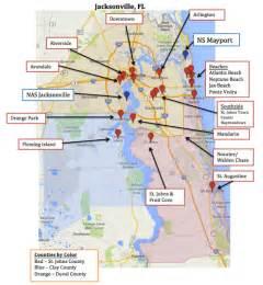map of jacksonville mayport florida town advisor