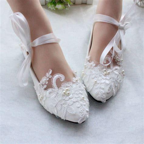 white ivory wedding shoes lace shoes bridal flats