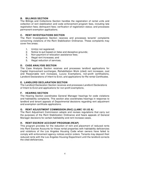Rent Increase Appeal Letter Los Angeles Rent Stabilization Handbook Rent