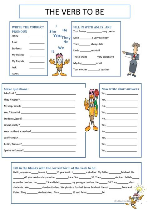 Printable Worksheets Verb To Be | the verb to be worksheet free esl printable worksheets