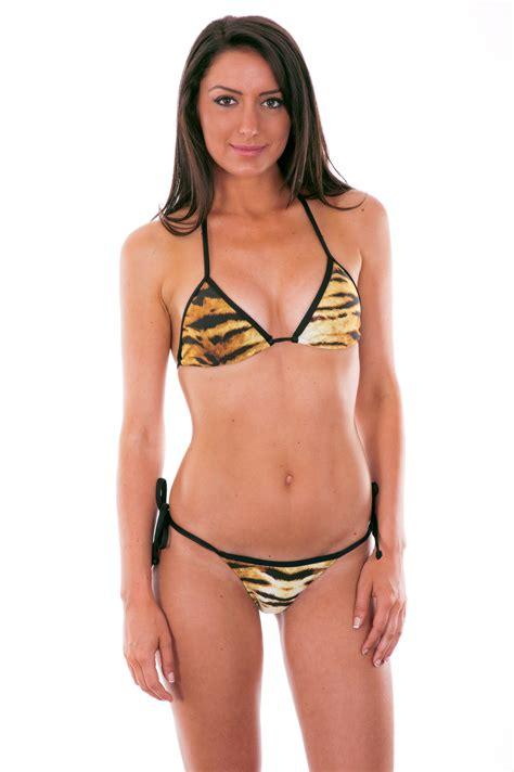 Rio de Sol Brown And Black Tiger Print String    Tigre Micro