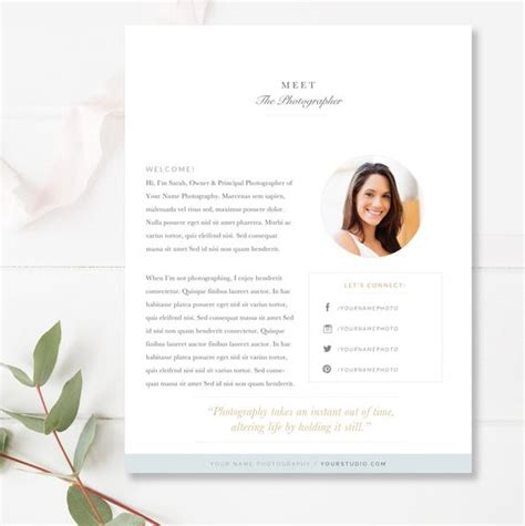 About Me Page Template For Photographers Photo Marketing About Me Page Template