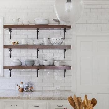 Stacked Wood and Cast Iron Kitchen Shelves   Cottage