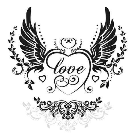 heart tattoos vector love wings with heart vector material 02 vector heart
